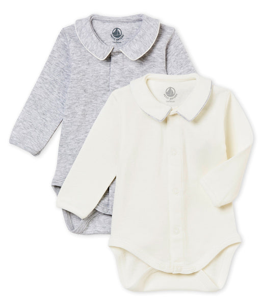 Petit Bateau Baby Set of 2 Long Sleeve Bodysuits with Collar