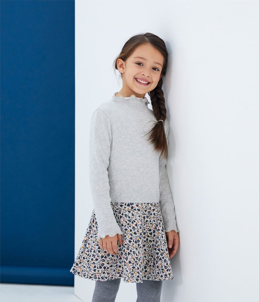 Petit Bateau Girl's Long Sleeve Two Tone Dress