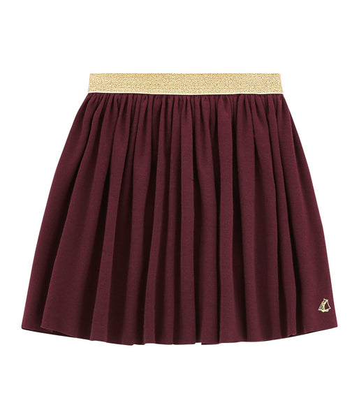 Petit Bateau Girl's Skirt with Gold Waistband