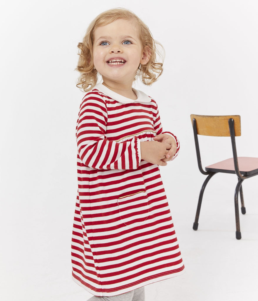 Petit Bateau BABY GIRL'S STRIPED DRESS WITH COLLAR
