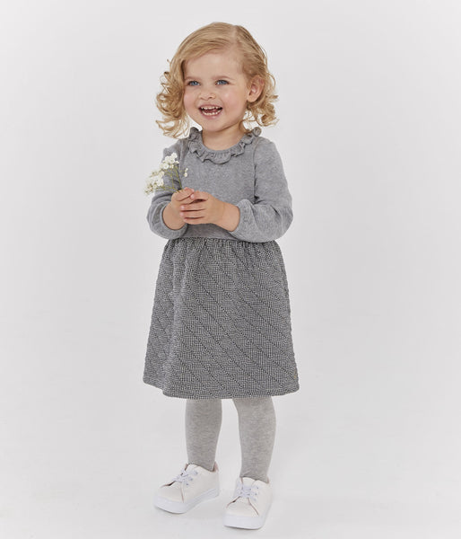 Petit Bateau Baby Girl Long Sleeve Dress with Ruffle Collar