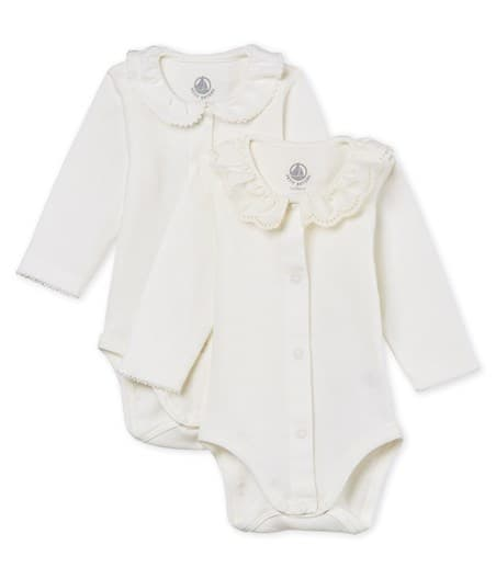 Petit Bateau Baby Girl Long-Sleeved Bodysuit with Collar - Set of 2