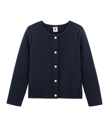 Petit Bateau Girl's Cardigan with Two Pockets in Navy