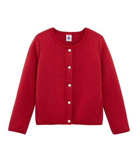 Petit Bateau Girl's Cardigan with Two Pockets in Red