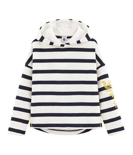 Petit Bateau Girls Hooded Breton Top