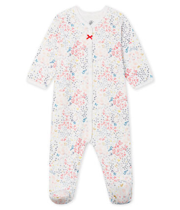 Petit Bateau Baby Girl Tube Knit Floral Footed Onesie