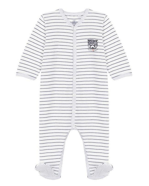 Petit Bateau Baby Boy Front Snap Print Footie with Graphic (3m, 6m, 9m)