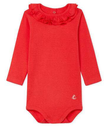 Petit Bateau Long-sleeved Bodysuit with Ruffle Collar