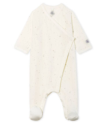 Petit Bateau Side Snap Footie with Little Silver Stars
