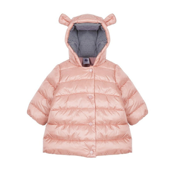 Petit Bateau Baby Girl Parka with Bear Ears Hood