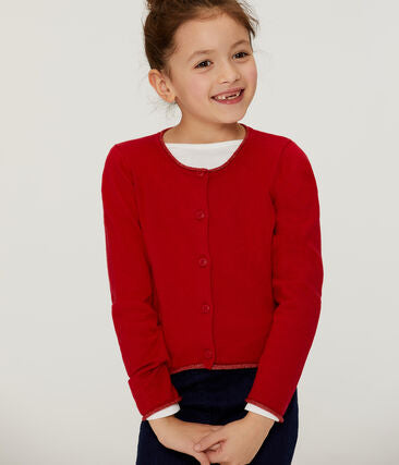 Petit Bateau Girl's Knit Cardigan with Gold Trim