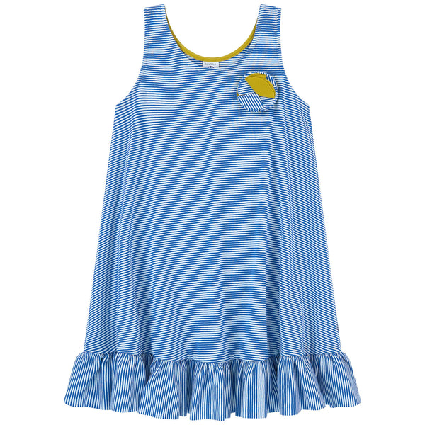 Petit Bateau Girl's Striped Flared Dress Ruffle Bottom (3Y, 4Y, 6Y, 8Y)