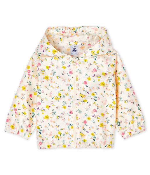 Petit Bateau Baby Girl Floral Hooded Windbreaker