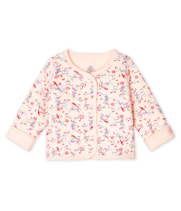 Petit Bateau Babies' Quilted Tube Knit Cardigan in Pink