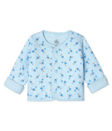 Petit Bateau Babies' Quilted Tube Knit Cardigan in Blue