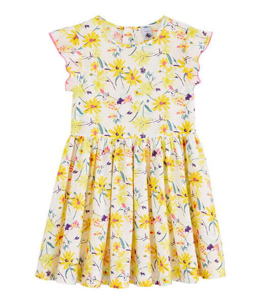 Petit Bateau Girls's Short Ruffle Sleeves Floral Dress