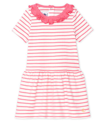 Petit Bateau Baby Girl's Striped Dress with Ruff