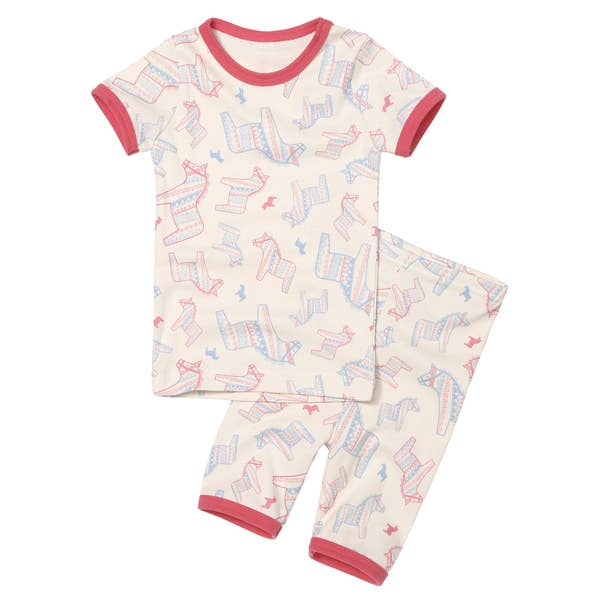 Organic 2 Pieces Short Sleeves Pajama Set -  Horse