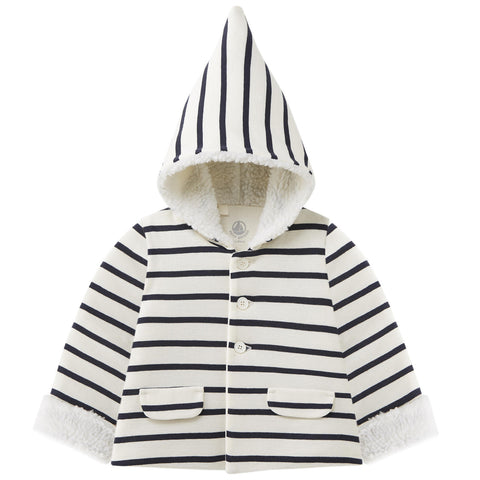PETIT BATEAU BABY STRIPED HOODED JACKET
