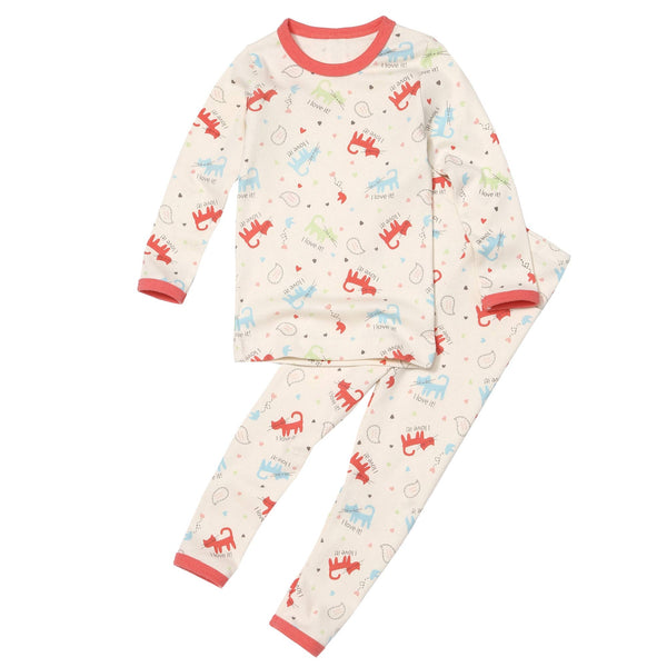 Organic 2 Pieces Pajama Set - Love Cat