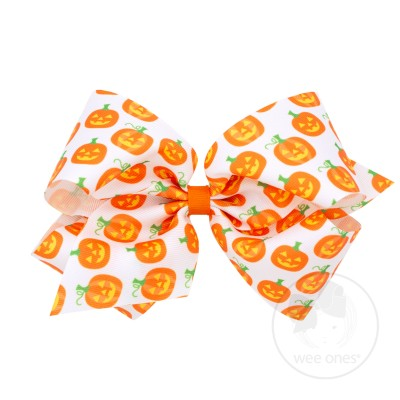 Fall Holiday Prints Bow - Pumpkin