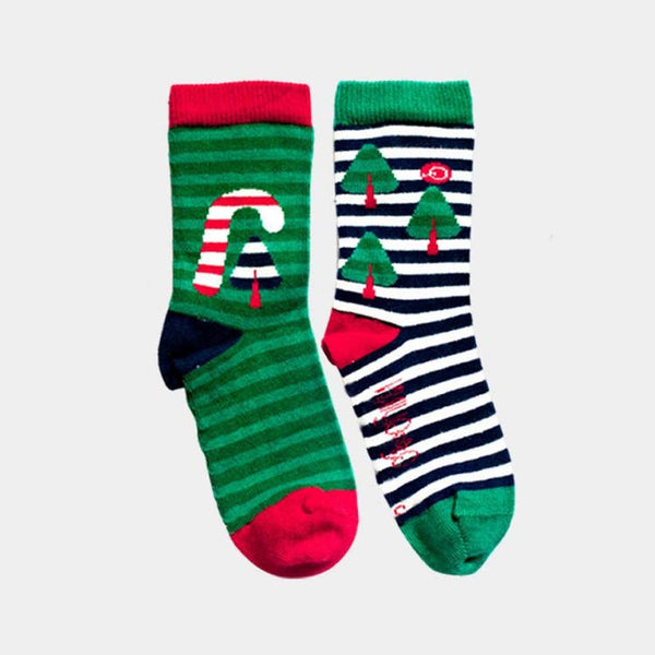 Organic Cotton Kids Socks - Christmas Candy Cane