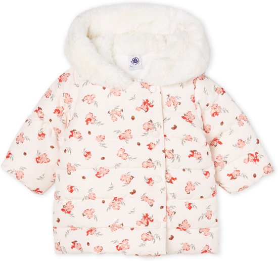 Petit Bateau Baby Girl's Puffy Hooded Floral Jacket (Size 6m, 12m, 18m, 24m)