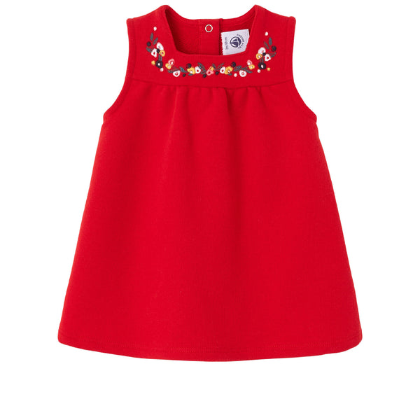 Petit Bateau Baby Girl Sleeveless Dress with Embroidered Neckline (3m-12m)