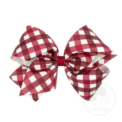 Fall Holiday Prints Bow - Cranberry