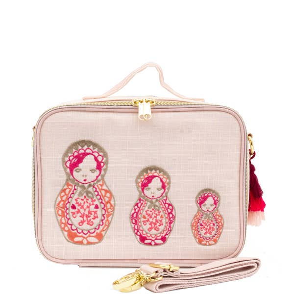 SoYoung Pink Linen - Embroidered Dolls Lunch Box