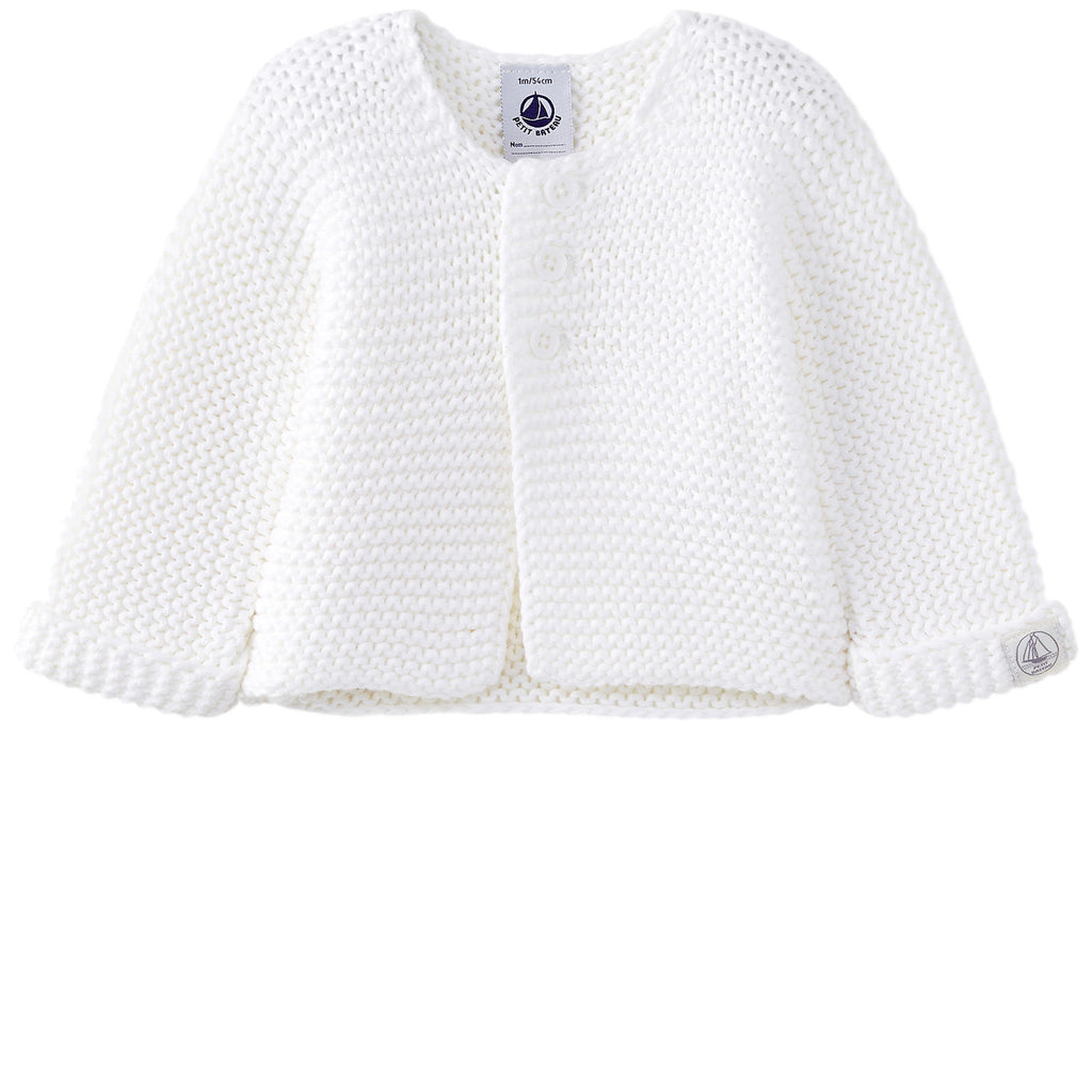 Petit Bateau: Baby Knit Cardigan in White