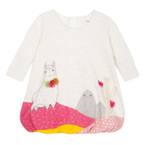 Catimini Baby Girl Bubble Dress with Llama Print
