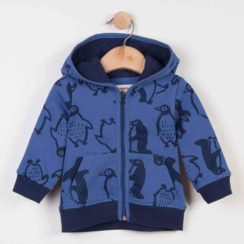 Catimini Zipped Fleece Sweater with Penguins Print