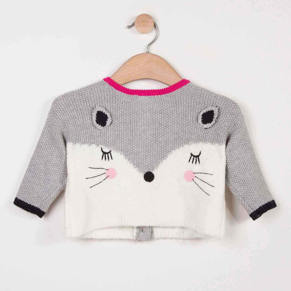 Catimini Woolly Cardigan with Fox Design (18m, 3T)