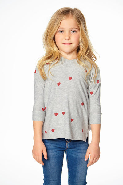 Chaser Girls Long Sleeve T-Shirt - Tiny Hearts (Size 2, 5)