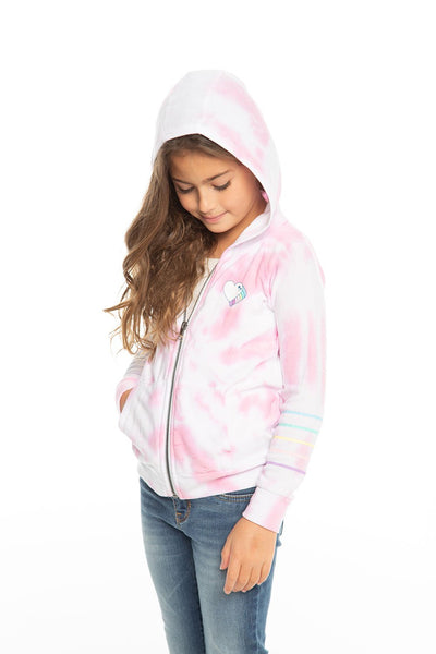 Chaser Girls Cozy Knit Zip Up Hoodie - Tie Dye Heart (Size 2, 3, 14)