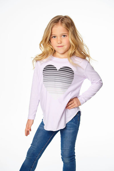 Chaser Girls Long Sleeve T-Shirt - Stripe Heart (Size 2, 4, 5, 12)