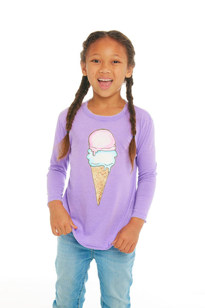 Chaser Girls Long Sleeve T-Shirt - Ice Cream Cone (Size 2, 4)