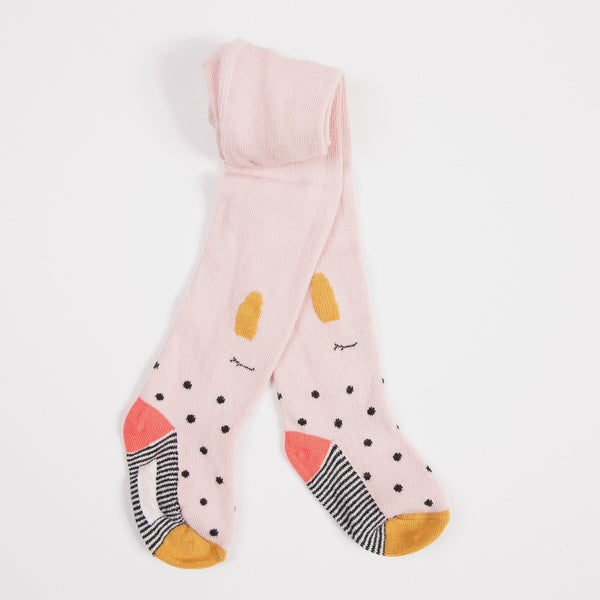 Catimini: Pink Bunny Polka Dots Tights