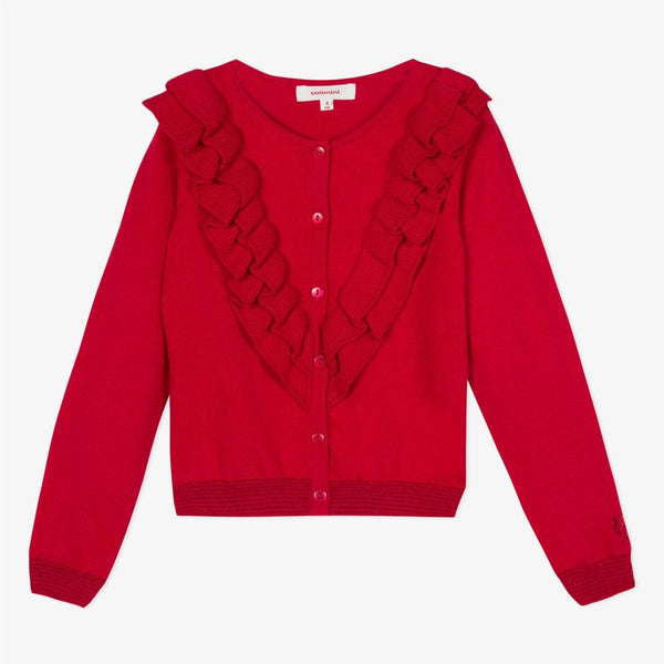 Catimini Girl's Red Ruffled Cotton Cardigan
