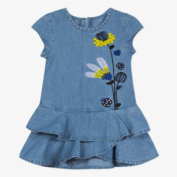 Catimini Baby Girl Light Denim Dress with Embroidered Mimosas