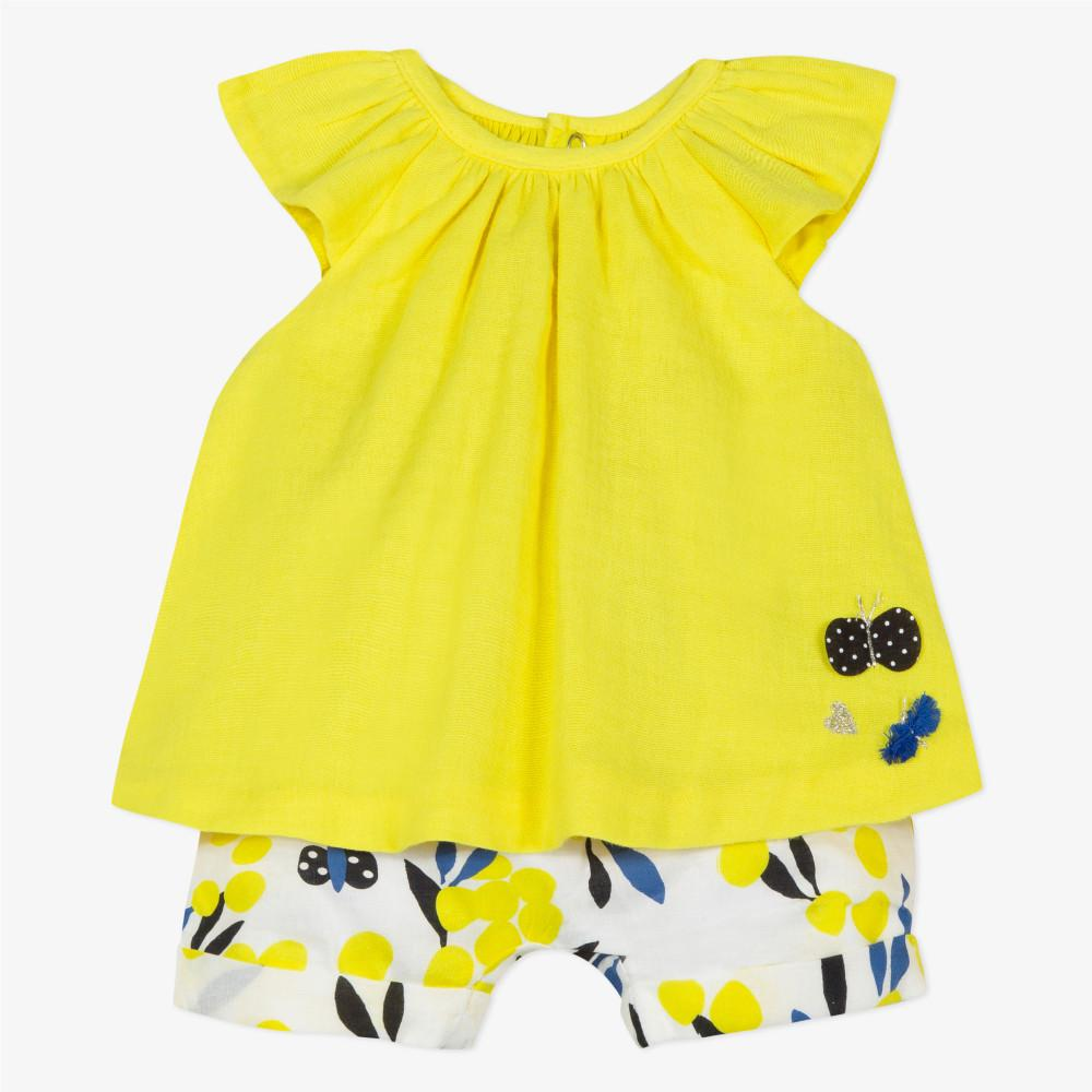 Catimini Baby Girl Blouse and Printed Shorts