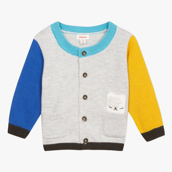 Catimini Baby Boy Color Block Cardigan with Llama Pocket (6m, 12m, 18m)