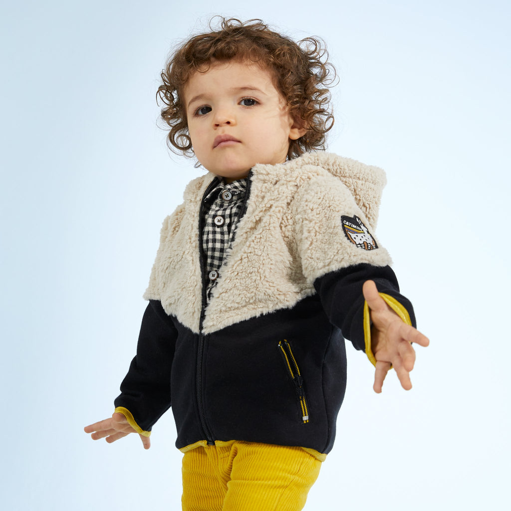 Catimini Little Boy Color Block Faux Fur Jacket