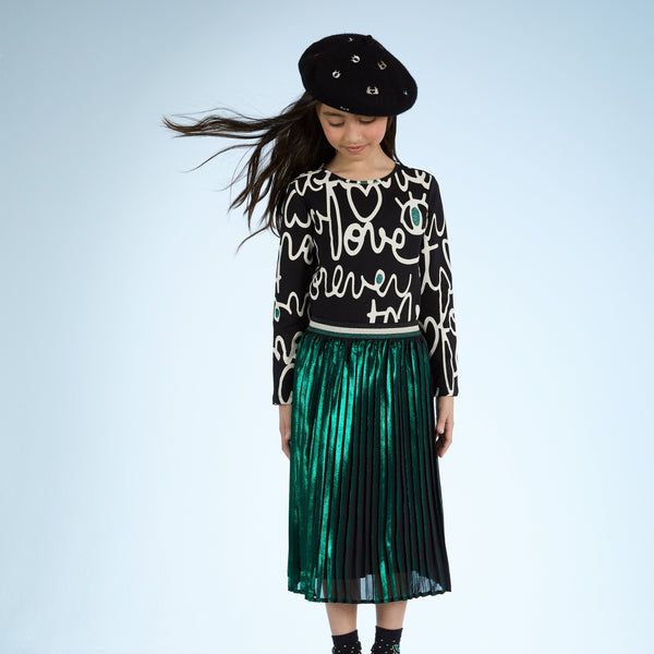 Catimini Girl's Green Mid-length Pleated Skirt