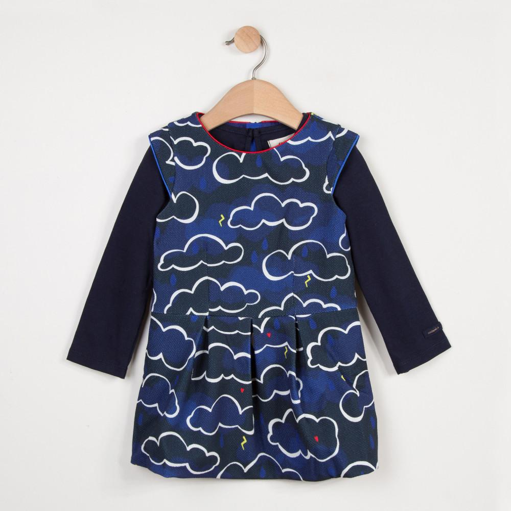 Catimini Printed pique dress with 2-in-1 T-shirt
