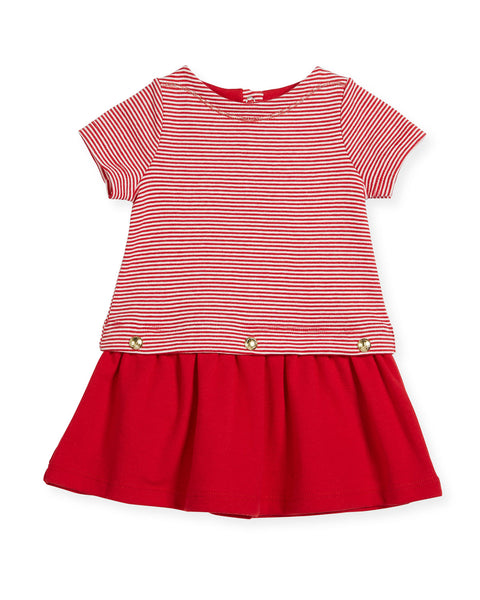 Petit Bateau BABY GIRL SHORT SLEEVE STRIPED TOP DRESS