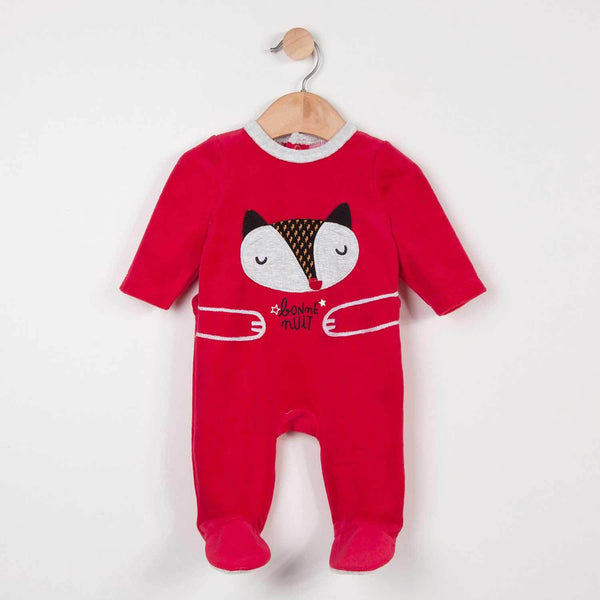 Catimini Velvet Onesie with Fox Motif