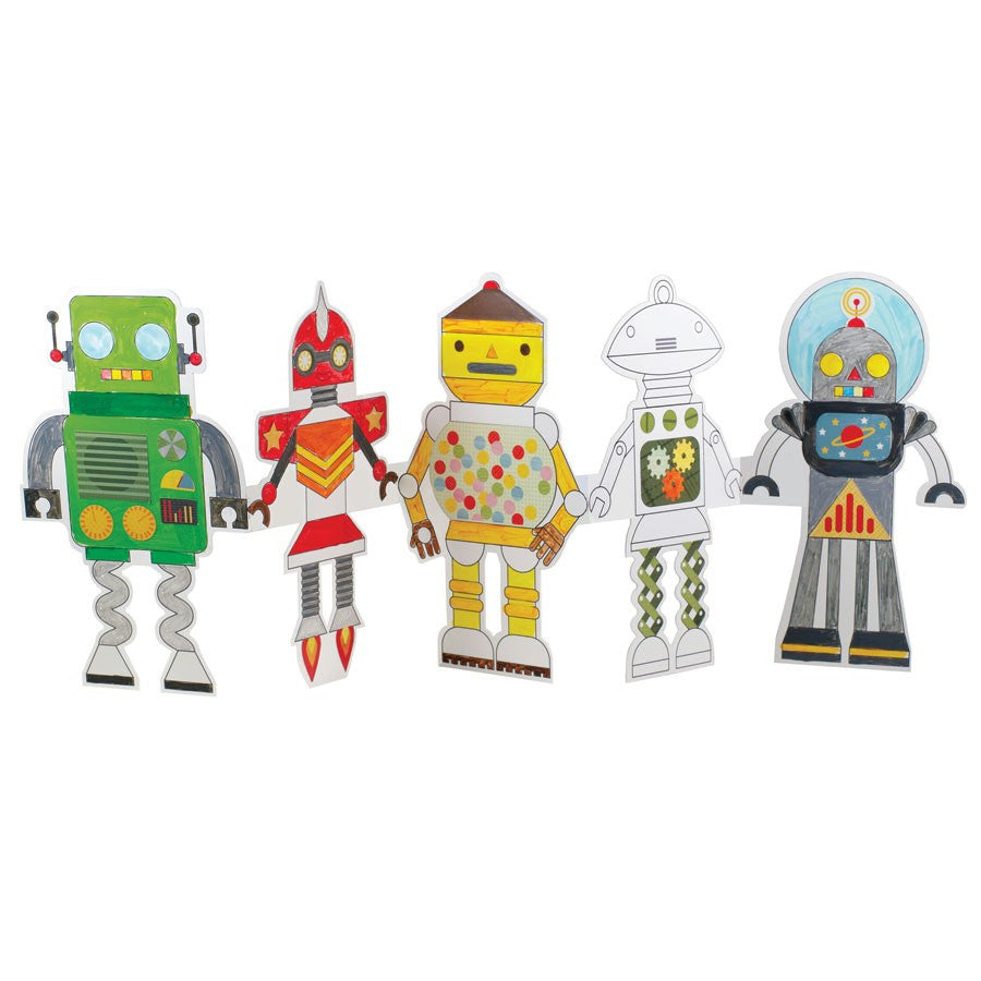 Robot Paper Doll Chain Craft & Color