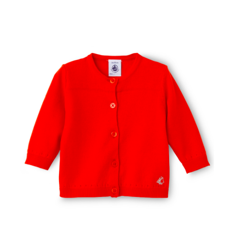 Petit Bateau Red Cardigan with Silver Detail